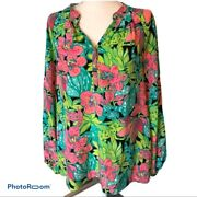 Lilly Pulitzer Elsa Skip One It Frogs Silk Tunic Small Rare Discontinued Patte