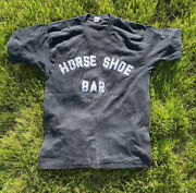 Vintage 80s Horse Shoe Bar Faded Thin Black Beer T Shirt Size L Rare