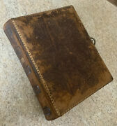 Antique Victorian Leather Bound Photo Album Metal Clasp With 12 Old Photographs