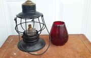 Wabash St. Louis And Pacific Railway Rail Road Lantern. Red Globe Embossed. Rare