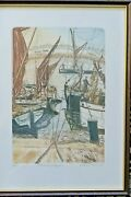 Glynn Thomas. Signed Limited Etching. Moored Barges. 40/150. Framed
