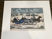 Original Currier And Ives Print The Sleigh Race 90 New Best 50