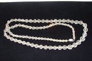 Antique Cut Crystal Bead Graduating Necklace Sterling Chain
