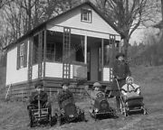 Children In Vintage Pedal Cars War House 8x10 Photography Reprint