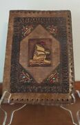 Vintage Tooled Leather Ship Boat Bible Book Cover Made In Italy Antique