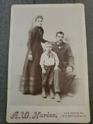 Vintage Cdv Photo Fancy Couple With Young Son By A.w. Harden Of Wichita, Ks