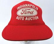 Vintage Ford Auto Auction Indianapolis Snapback Trucker Hat Red Ford Cap Foam
