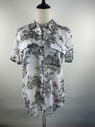 Tommy Bahama Womenandrsquos Black And White Hawaii Print Polo Shirt Button Up Medium