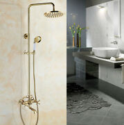 Gold Shower Faucet Tap 8 Inch Rain Shower Head With Handshower Set Tub Mixer Tap