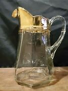 Vintage Heavy Clear Glass Panel Pitcher With Gold Rim 9.5 Tall