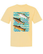 Classic Rainbow Brook Brown Trout Fish Trio Animal Garment-dyed Short Sleeve Tee