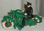 Vintage 7 Cast Iron Police Motorcycle W/solid Steel Wheels