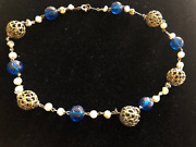 Antique Necklace Fish Scale Wax Pearls And Venetian Blue Glass Beads