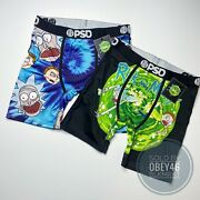 Psd Blue Rick And Morty Boxer Briefs Tie Dye Heads And Classic Bundle Lot- M 32-34