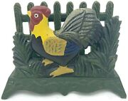 Vintage Cast Iron Rooster Chicken Napkin Letter Holder Farmhouse Country Decor