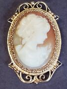Antique 14k Gold Hand Carved Real Conch Shell Cameo Broach Pin Victorian Woman