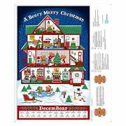 Beary Merry Christmas Advent Calendar Qt Fabric Panel New W/ Instructions And Bear