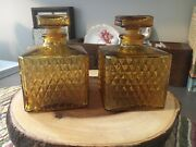 Vintage Amber Glass Decanter Pair - With Stopper - Japan