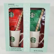 Starbucks Cocoa For Two 2 Gift Pack Peppermint Hot Chocolate Coffee 10 Oz Mugs