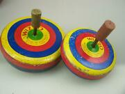 Vintage Wizzo Spinning Tops Pair 1941 Australian Made