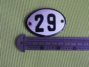 Vintage Enameled Porcelain Tin Sign Number 29 - 2.5 In -1.7 In Small Rare Q2