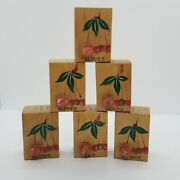 Rare Vintage Wooden Block 3d Cherry Salt And Pepper Spices Shakers Lot Of 6