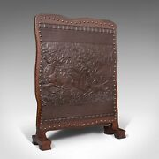 Antique Embossed Fire Screen Oak Leather Fireside Arts And Crafts Edwardian