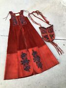 Vintage Char Leather Vest And Purse Set Jacket Duster Whipstitched Hippie
