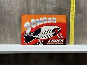 Bomber Lures Metal Sign Fishing Pole Bass Catfish Crappie Blue Gil Boat Gas Oil