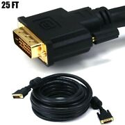 25ft Dvi-d Dual Link Male To Male Monitor Cable Pc Hdtv 24awg Cl2 Gold Plated