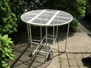 Vintage Wrought Iron Drop Leaf Rolling Table W/2 Wheels White 36 Inches Round