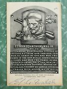 1950s Ed Walsh Signed Artvue White Hall Of Fame Postcard Plaque Died 1959