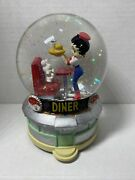 """2001 Betty Boop Snow Globe Music Box - Diner 6827 - Plays """"at The Hop"""""""