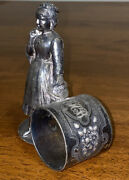 Antique Middletown Plate Co. Figural Victorian Woman Napkin Holder Silver Plated