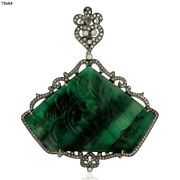 77.65ct Carved Emerald Diamond 18k Gold 925 Sterling Silver Pendant Gift Jewelry