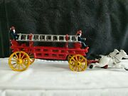 Vintage Cast Iron Fire Dept Ladder Truck W/ Truck Base 2 Ladders And 2 Drivers 14