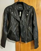 Madewell Washed Leather Motorcycle Jacket Nwt Xxs True Black. Never Worn