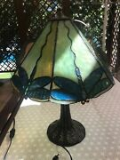 - Stained Glass Table Desk Lamp - Dragonfly - Art Nouveau