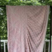 Vintage Chenille Pink And White Twin Bedspread With Bedskirt Drop Pillow Sham Mint