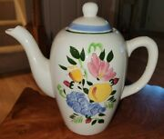 Vtg Stangl Pottery Fruit And Flowers Hand Painted Trenton Nj Coffee Teapot Large