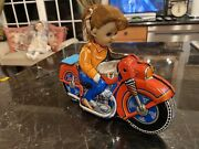 Tin Lithographed Friction Toy Girl On Motorcycle Haji Japan 1950's