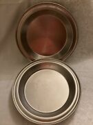 Lot Of 2 Vintage Heavy Duty Stainless Steel No Drip Juice Saver Pie Pans Usa