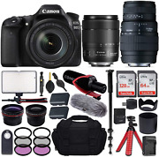 Canon Eos 80d Dslr Camera With Ef-s 18-135mm F/3.5-5.6 Is Usm + Sigma 70-300mm F