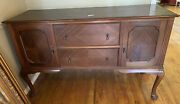 Jacobean Style Early 1900andrsquos Solid Wood Sideboard/buffet