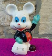 Money Box Vintage Piggy Bank Mickey Mouse Porcelain Novelty Hand Painted Coins