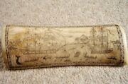 Antique Faux Scrimshaw Engraving,artificial ,resin,whaler Indian Off Tahiti
