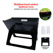 Folding Bbq Barbecue Grill Large Portable Charcoal Stove Camping Garden Outdoor