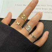 2pcs Women Vintage Butterfly Ring Lover Couple Ring Adjustable Ring Set P4y4