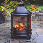 Cooking Fire Pit Grill Steel Outdoor Campfire Heater Bbq Removable Ash Pan Black