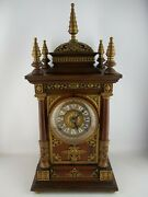 1896 Ansonia Cabinet Antique Model Mantel Clock Wood And Brass 8-day Gorgeous